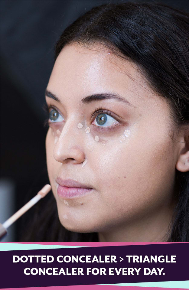 To save time, dot your concealer for an everyday look. The triangle method is only necessary if you want maximum coverage.