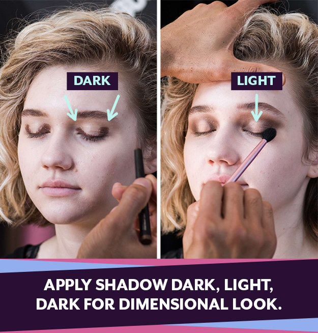 For a quick and easy eye look, apply a dark shadow to the inner and outer corners of your eyes, and a light shadow to the middle.