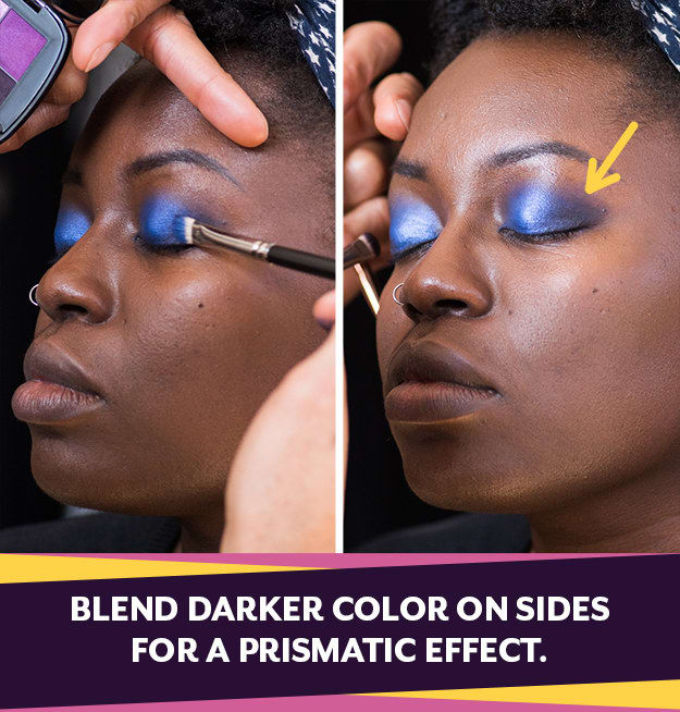 Create a prismatic effect by applying a darker color than your base to the outer corners. This will give you more illusion and depth.