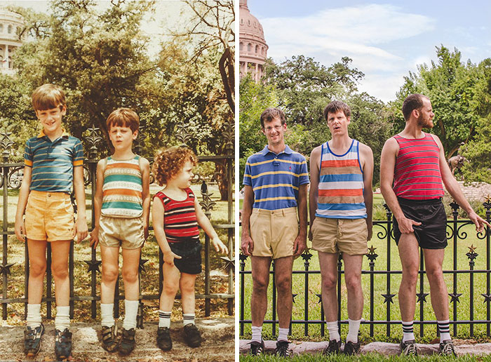 Once again, strong outfit selection from everyone involved in this photo. Plus, the fact they've taken the time to go to the exact spot of the first picture is commendable.
