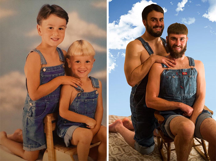 This one is, well, terrifying. The guy on the right looks like if Jim Carrey's character, Lloyd, from Dumb and Dumber, grew up in some kind of witness protection program.