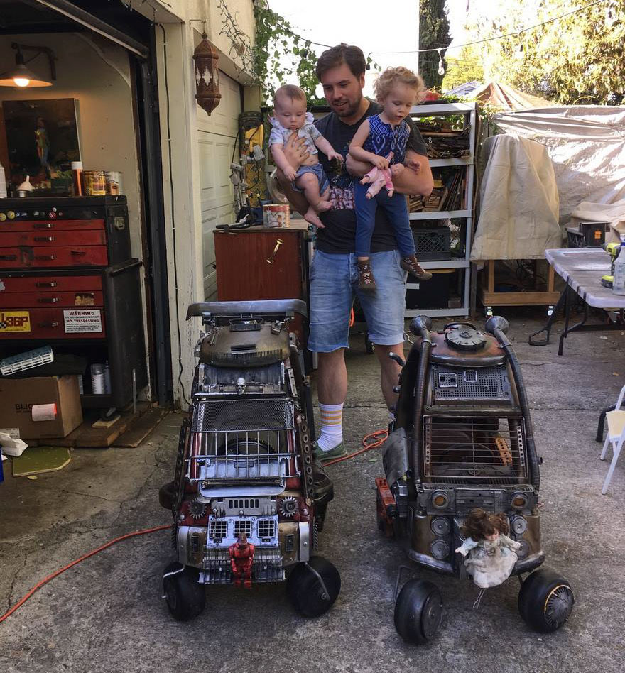 He used everything from old computer junk to an espresso machine