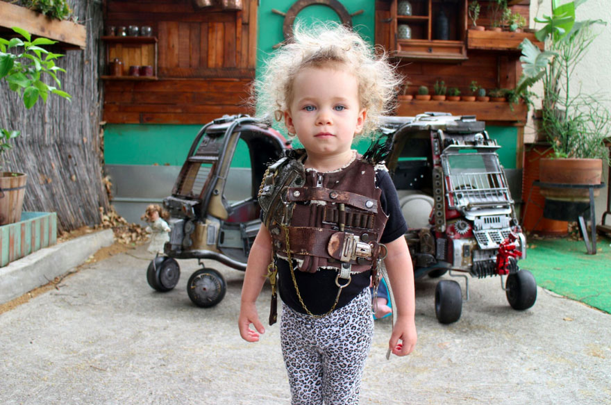 Ian's wife Emily even made badass outfits to match the vehicles