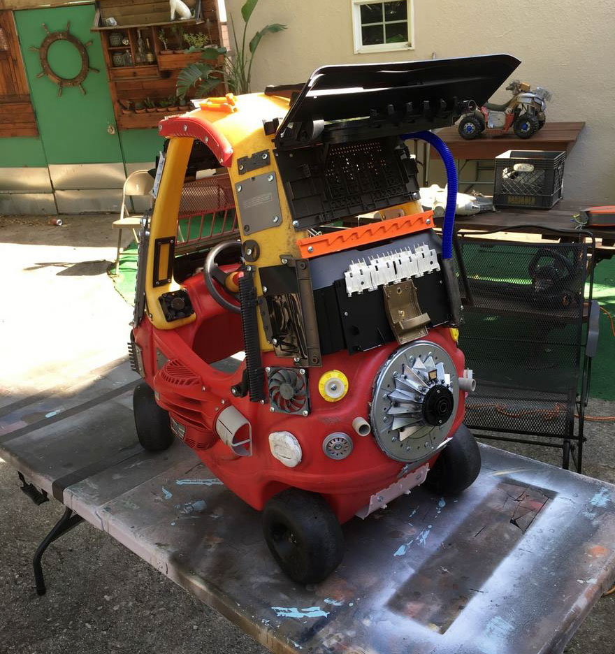 He then started spicing up the kid cars with things he found around the house