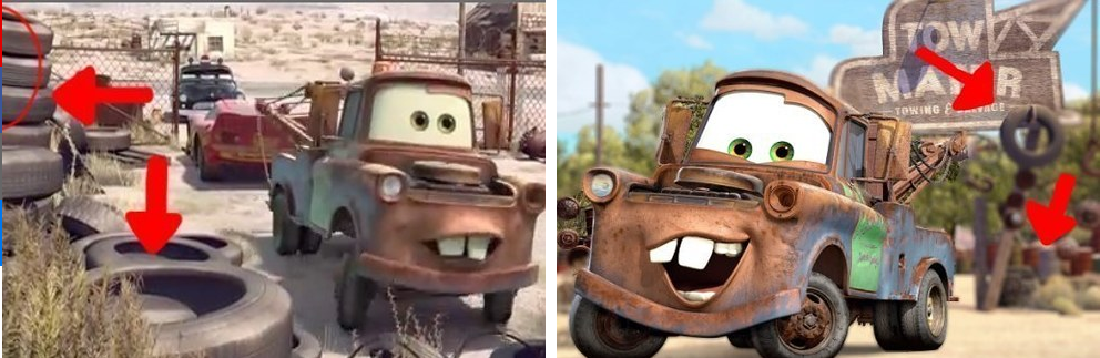 1. When Mater lived in a junkyard in Cars, which was basically the equivalent of a human living next to a pile of body parts: