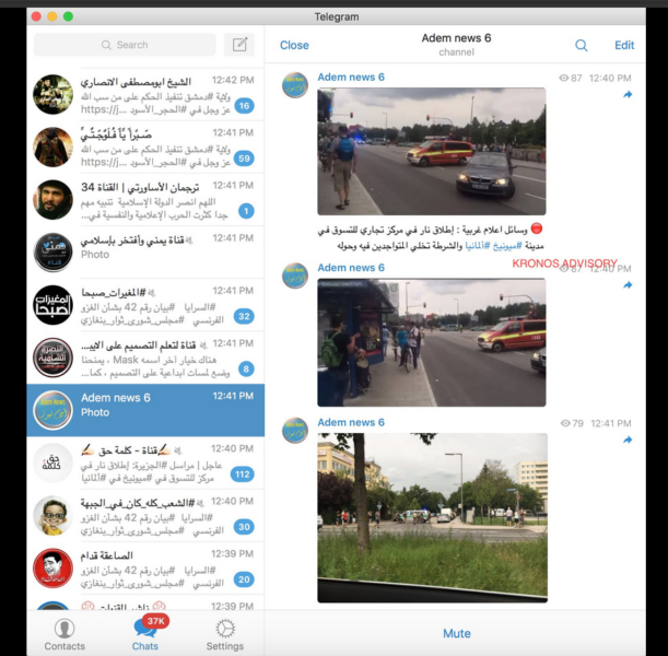 News of events in Germany is beginning to spread on IS-linked Telegram channels