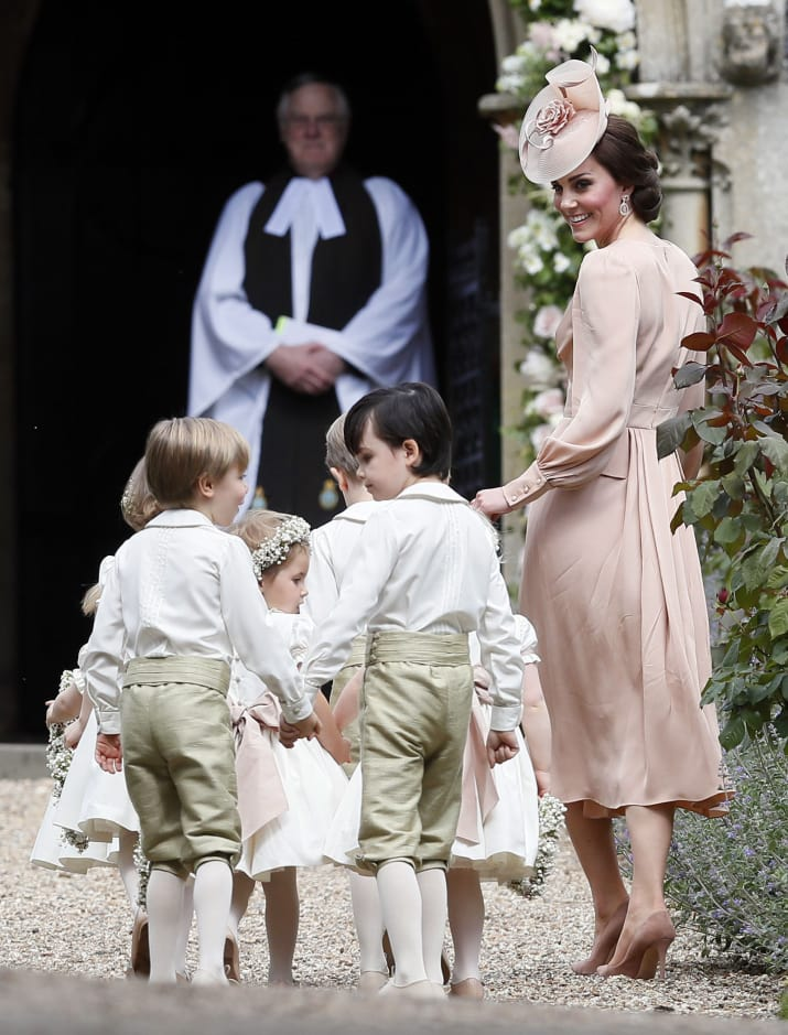The Duchess, formerly known as Kate Middleton, walked into the church along with the pageboys and flower girls.