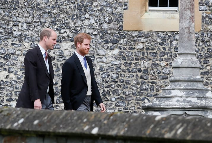 Princes William and Harry arrived together.