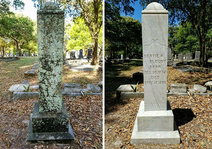 By the time he finishes with them, the tombstones look good as new, even though some of them date back to the early 1900's.