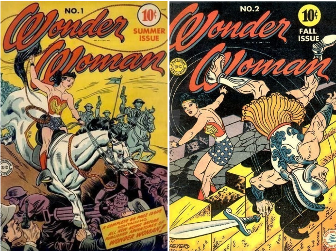 The first Wonder Woman comics appeared in 1942 — and she was depicted wearing cowboy boots and shorts looking patriotic AF.