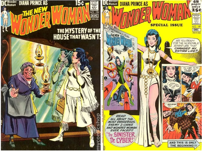 In the late '60s and early '70s there was a whole period when the focus was put on Wonder Woman's alter ego Diana Prince, and she was featured in a bunch of ~groovy~ white outfits.