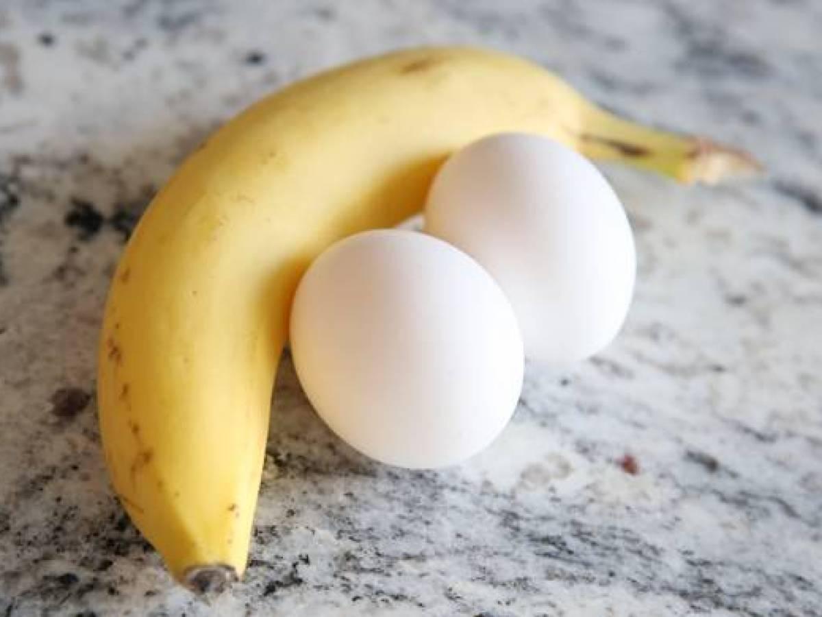 Eating eggs and banana