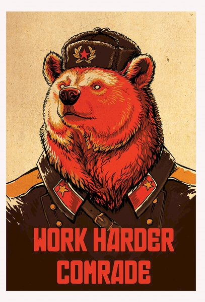 Since the puzzle is from the Soviet era, here is some Soviet inspired encouragement for you.