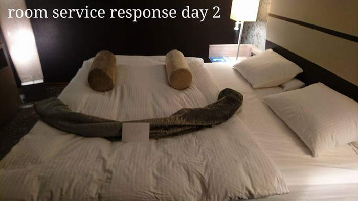 The housekeeper remade the bed