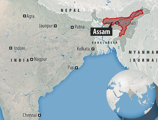 Assam lies in the eastern part of India.