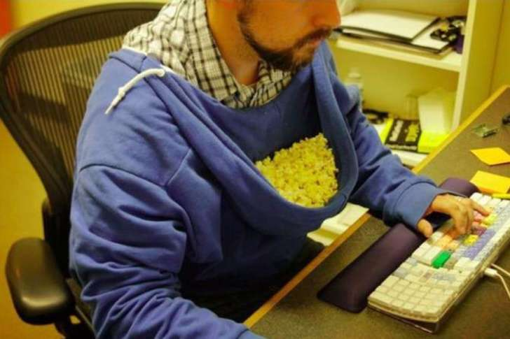 You can use a hoodie to store popcorns and eat while working. It is not merely a hoodie anymore.