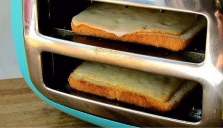 Put the toaster on its side if you want easy grilled cheese.