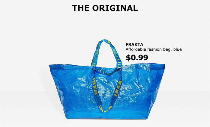 The funniest part is that it bears a striking resemblance to another bag, namely IKEA's iconic Frakta tote bag.