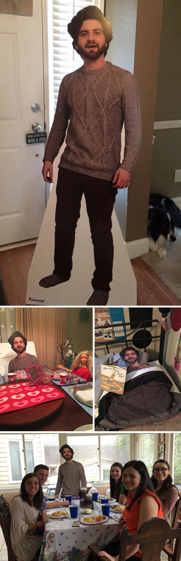 #5 Son Studying Abroad Sent Mom Cutout Of Himself And Thought They'd Laugh And Put Somewhere In The Corner. But His Mom Decided To Take The Cutout Along To Family Gatherings