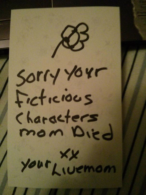 #20 My Mom Slid This Under My Door After Walking In On Me Watching Buffy And Sobbing