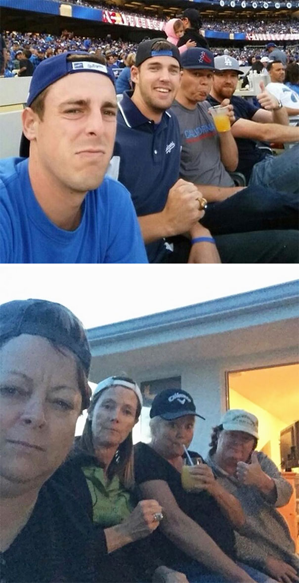 #1 Our Moms Mocked Our Selfie At The Dodger Game
