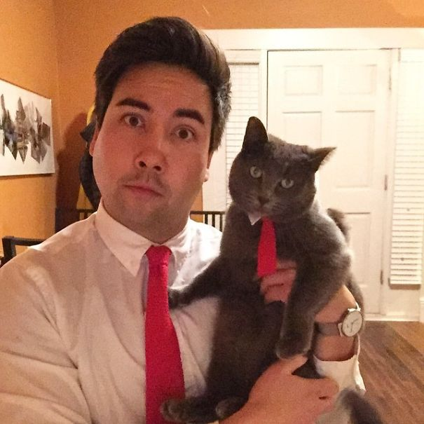 #11 My Mom Knit Me And My Cat Another Set Of Matching Ties For Christmas