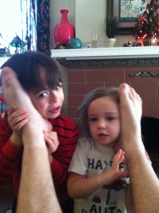 #7 So, My Wife Told Our Kids That The Way To Talk To Santa Was Through Phones In Daddy's Feet