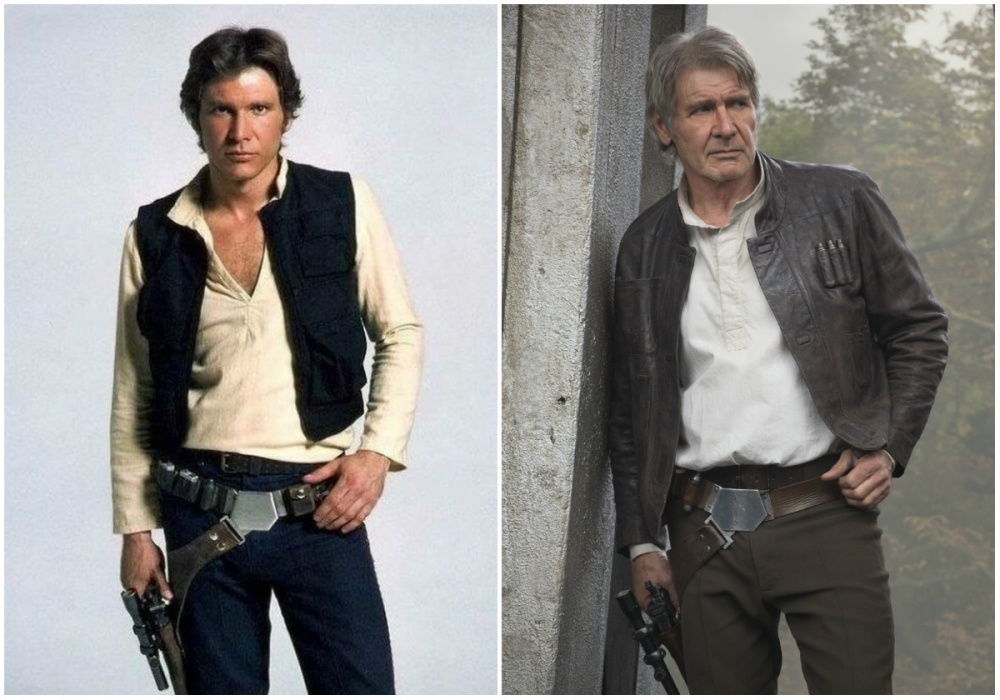Harrison Ford (Han Solo), 1980 and 2015