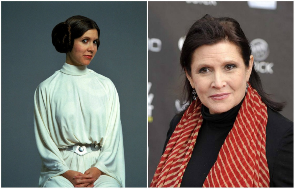 Carrie Fisher (Princess Leia Organa), 1977 and 2015