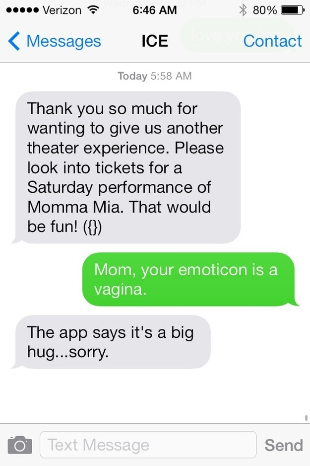 2. This mom who just sent a rather expilcit emoticon.