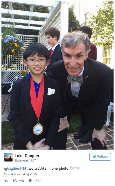And he's met Bill Nye, because of course.