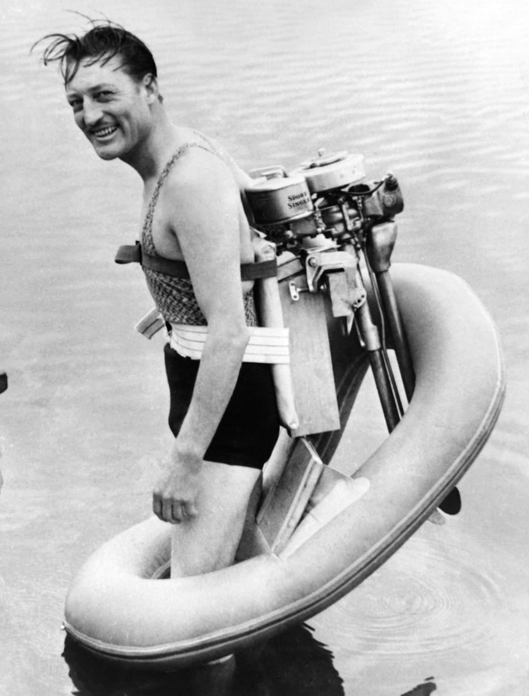 4. Cruising with your backpack boat propeller, circa 1940: