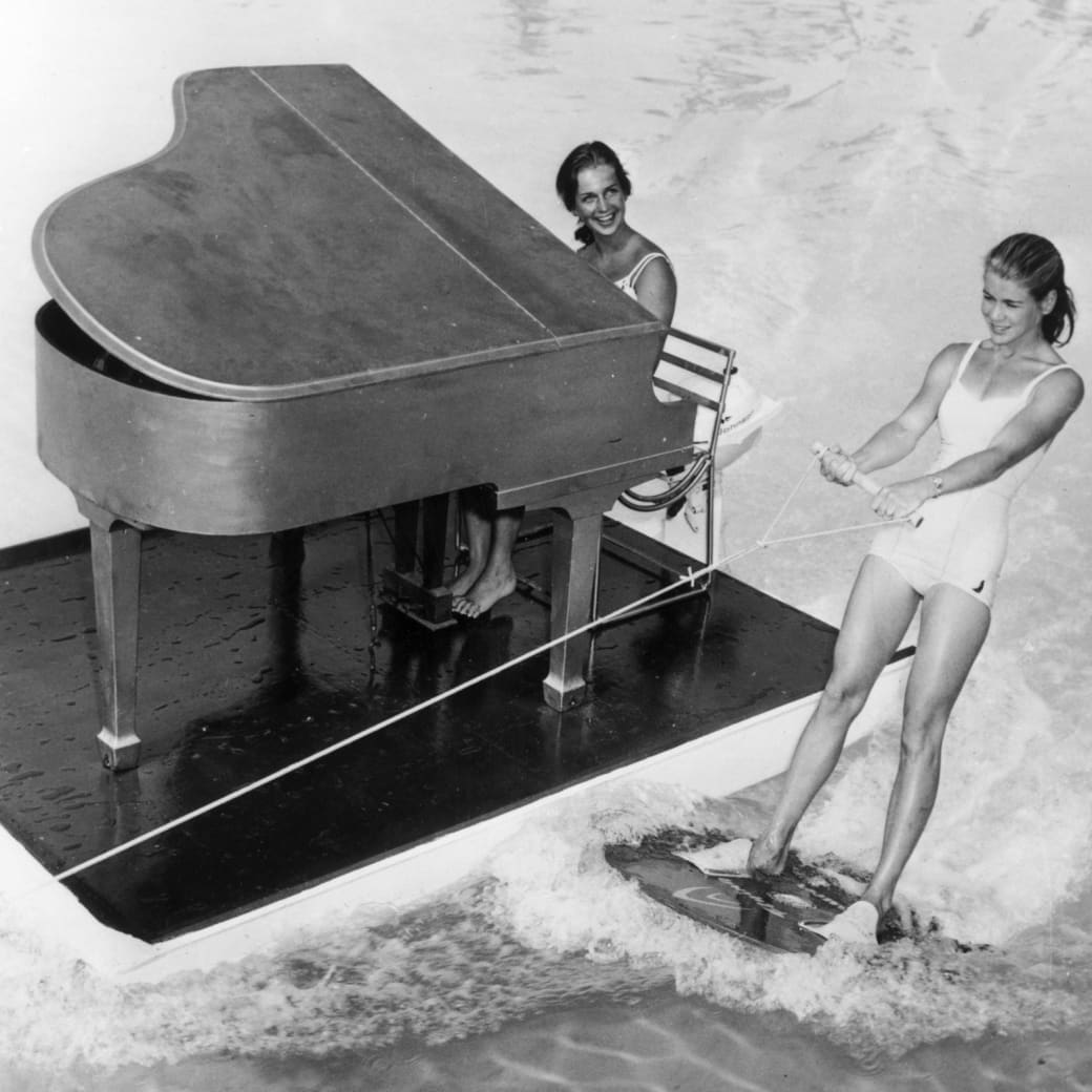 16. Taking a spin on an aquatic baby grand piano, 1962.