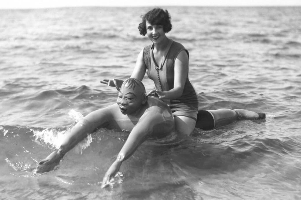 6. Enjoying the fun new beach toys on the market, 1929: