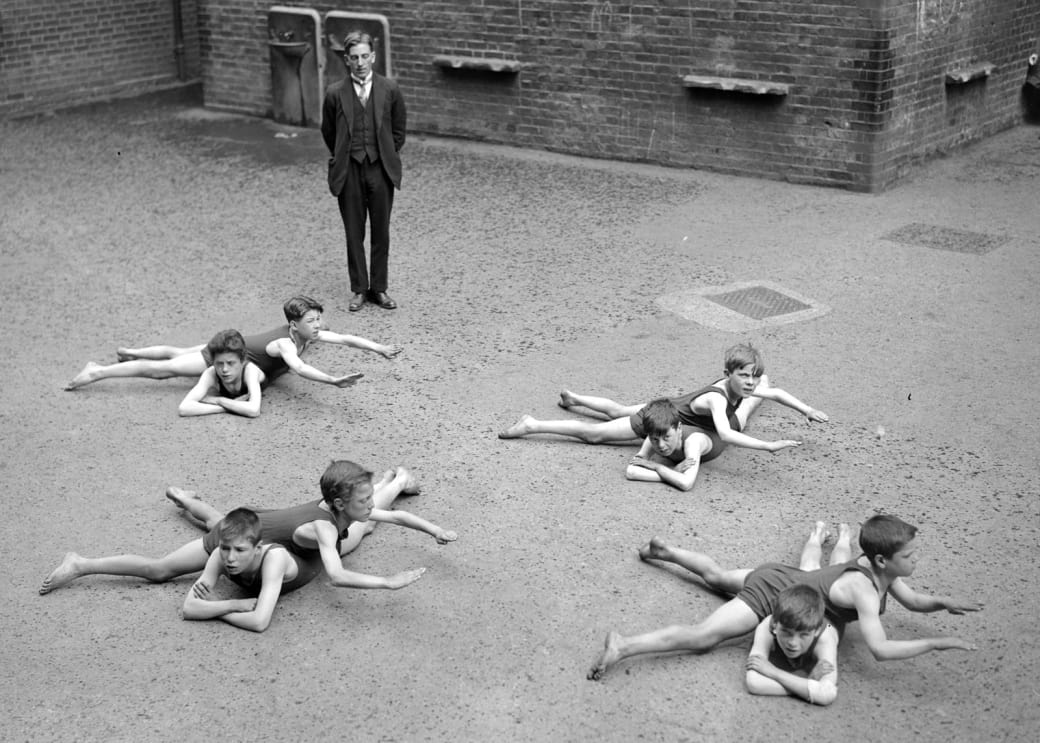 14. No water necessary for swim lessons in 1923:
