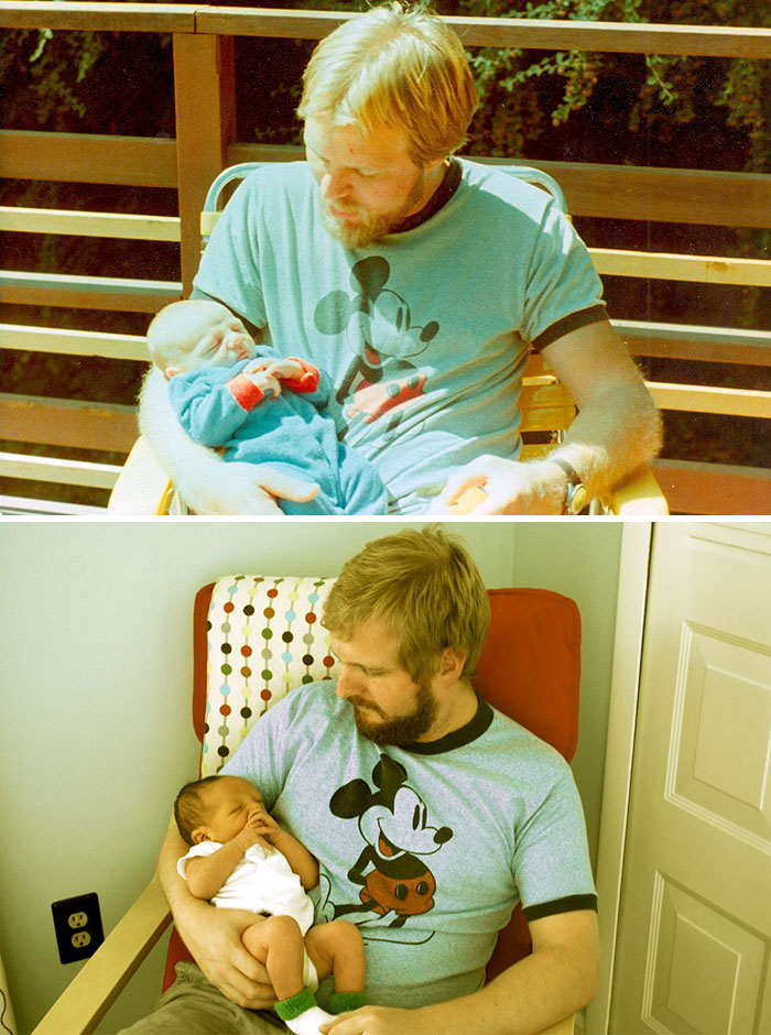 12.Photo 1: Father With 29 Years And His Son With 2 Weeks Photo 2: Son With 29 Years Old And His Son With 2 Weeks