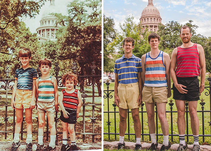 5. 1984 And 2013. 29 Years Later, My Brothers And I Recreated Our Family Vacation Photo At The Texas State Capitol