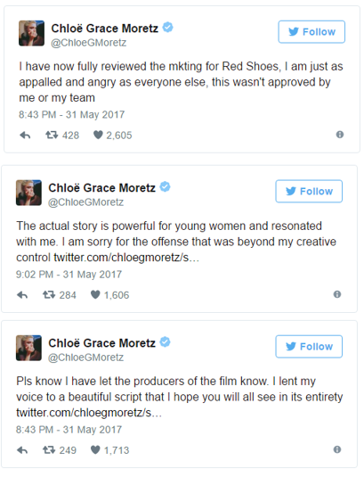 Chloe took to her Twitter account to apologise in a string of tweets to fans to explain she was 'appalled and angry' as everybody else.