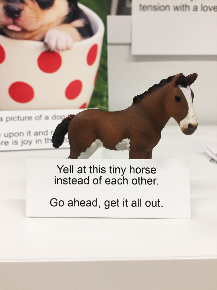 """Shopping can be stressful,"" reads the sign. ""Here are 5 quick ways to ease tension with a loved one."" The kit includes everything from a tiny horse that you can yell at instead of each other"