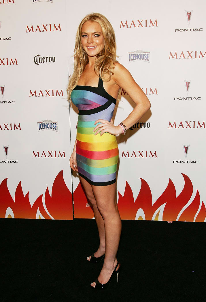 5. 2007 All-Star Lindsay Lohan wasn't just an It Girl, she was an It Girl in a rainbow bandage dress.