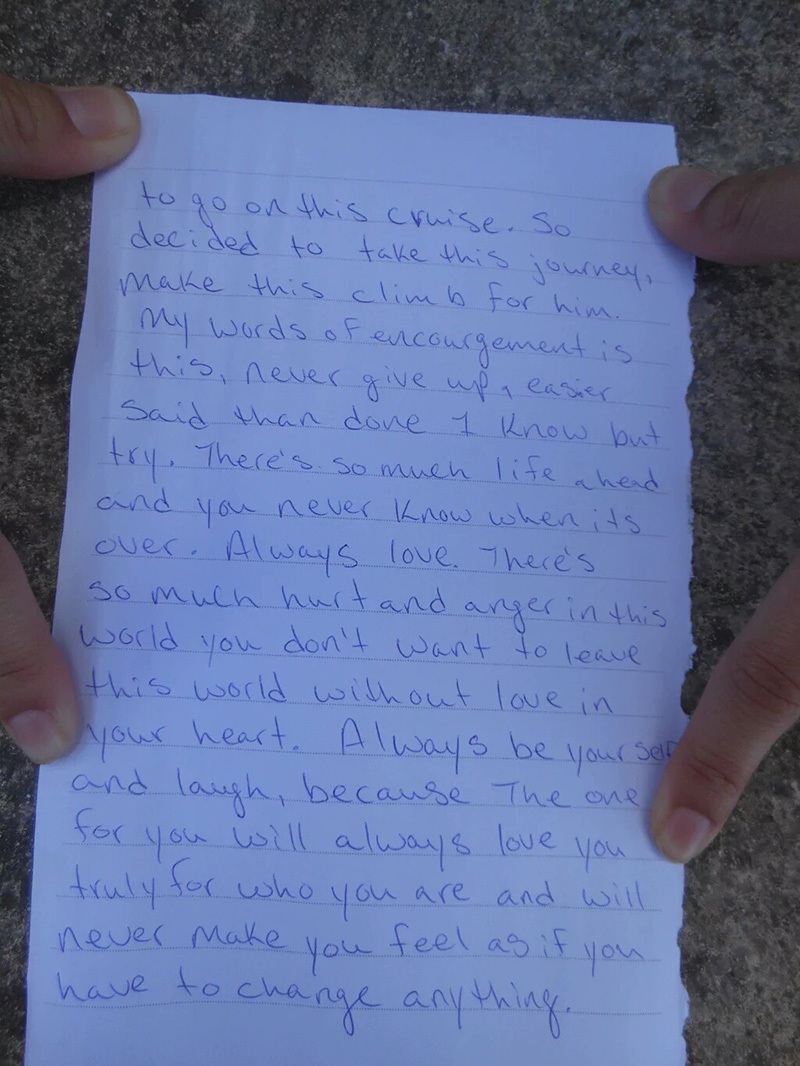 The personal and meaningful letter gave a powerful message about love.