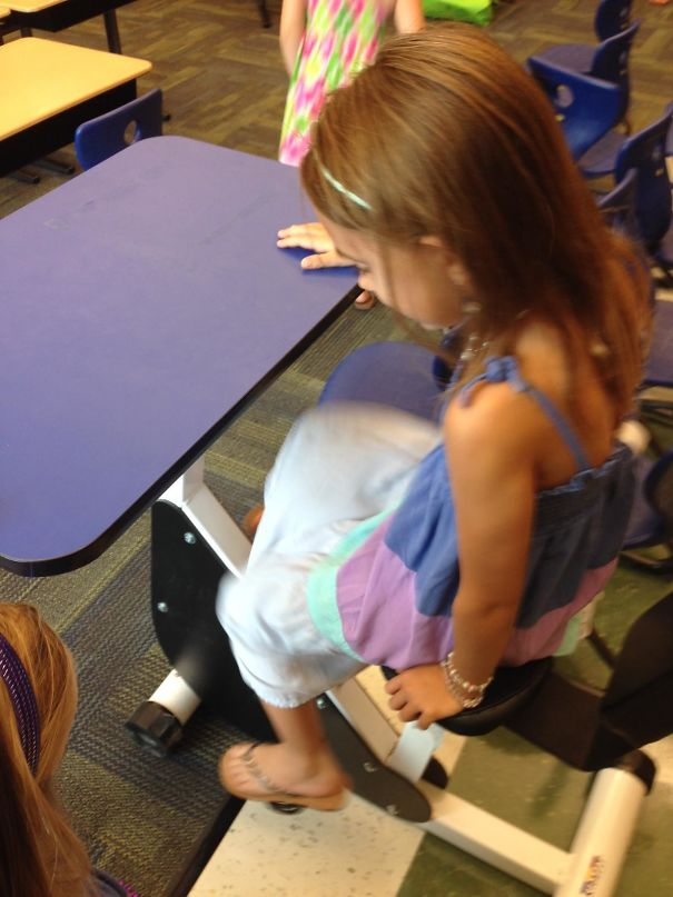 #16 My Daughter's First Grade Classroom Has Desks With Pedals So Kids Can Move While Learning