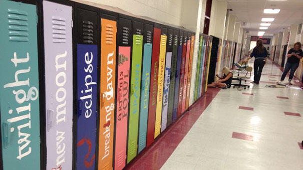 #11 School Paints Lockers As Book Spines To Create An
