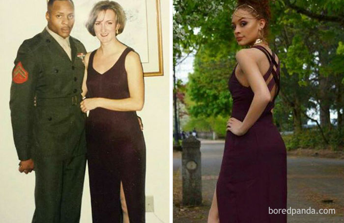#3 The Mom On The Left Says Her Daughter Was Left Disappointed By A Dress She Ordered Online, So She Raided Her Closet And Found This Saucy Purple Number Instead