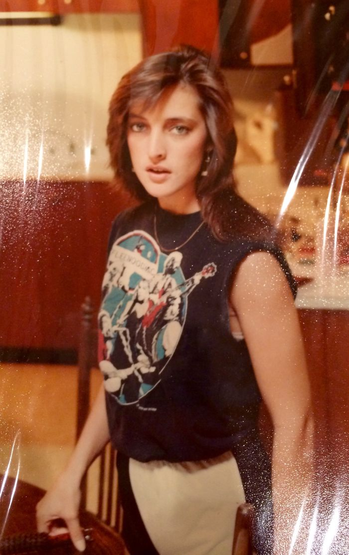 #5 My Mom Thinks She Is So Hardcore In Her Fleetwood Mac Tank Top At Age 18, 1982