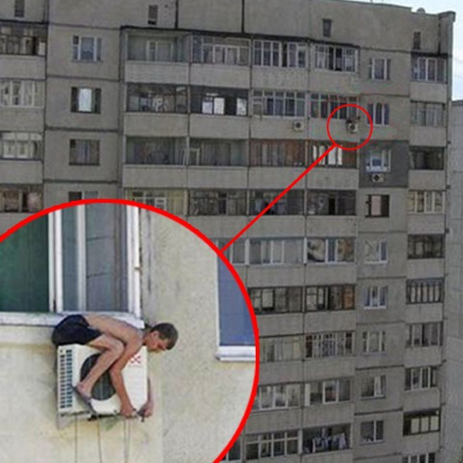 He had to jump out of the window and hide there to avoid capture when her husband came home.