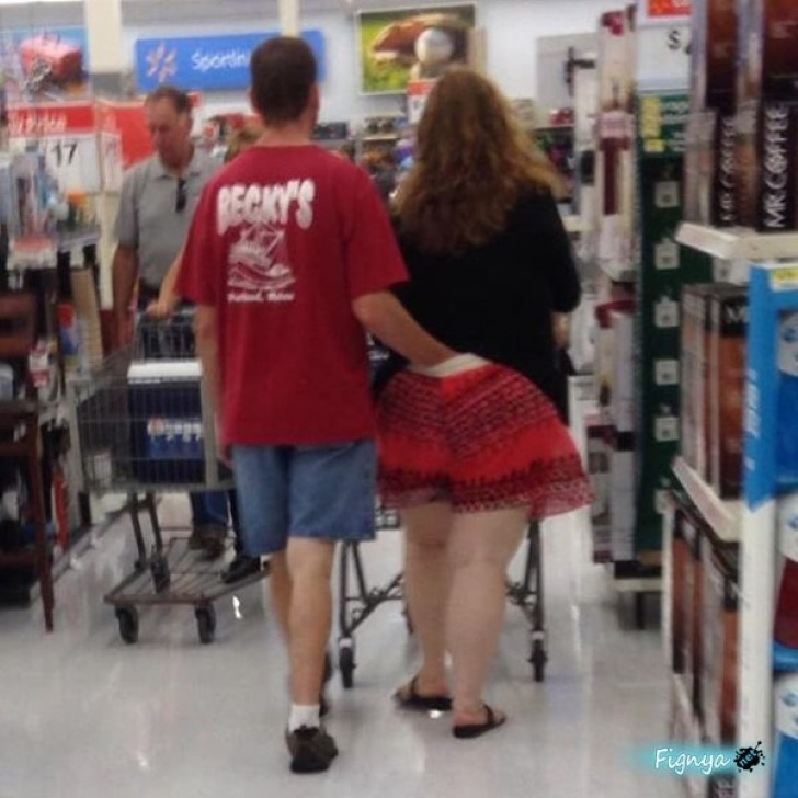 A public display of affection at Walmart. Awww. how romantic!