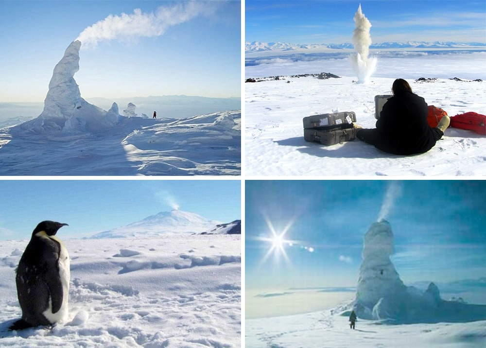 An Antarctic volcano and its snow pipes