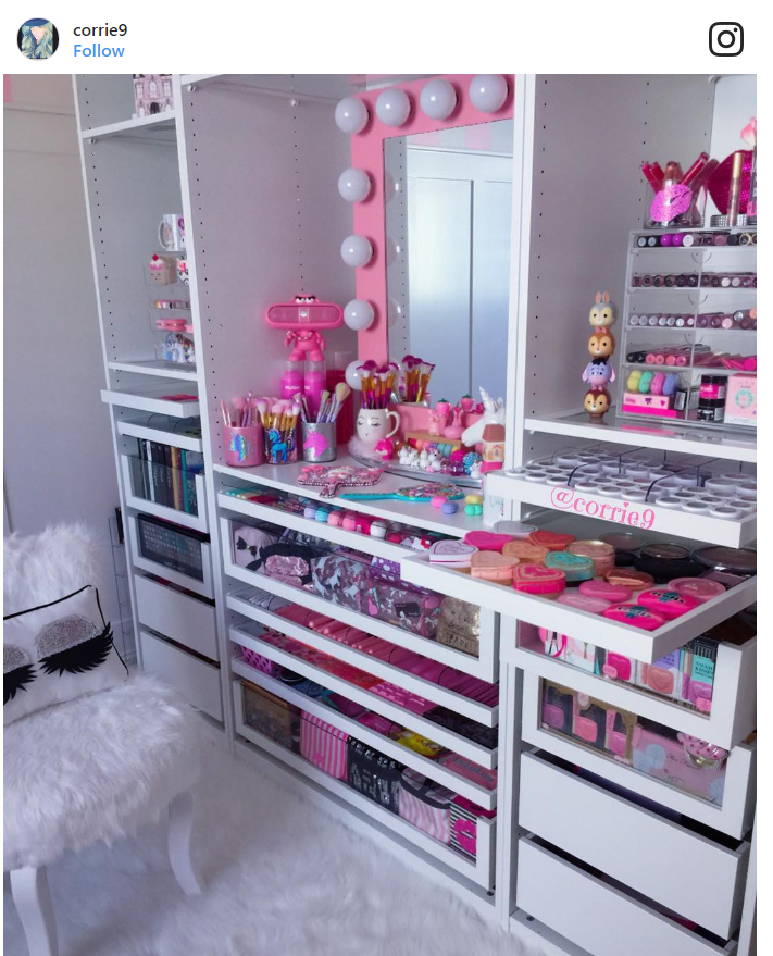 7. Finding a perfect spot for every single item in your makeup collection.